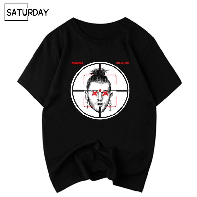 Men's Eminem Machine Gun Kelly Diss Track Killshot Cotton Black T-shirts Unisex Hip Hop Swag Funny Tops Tee Women Cotton Clothes