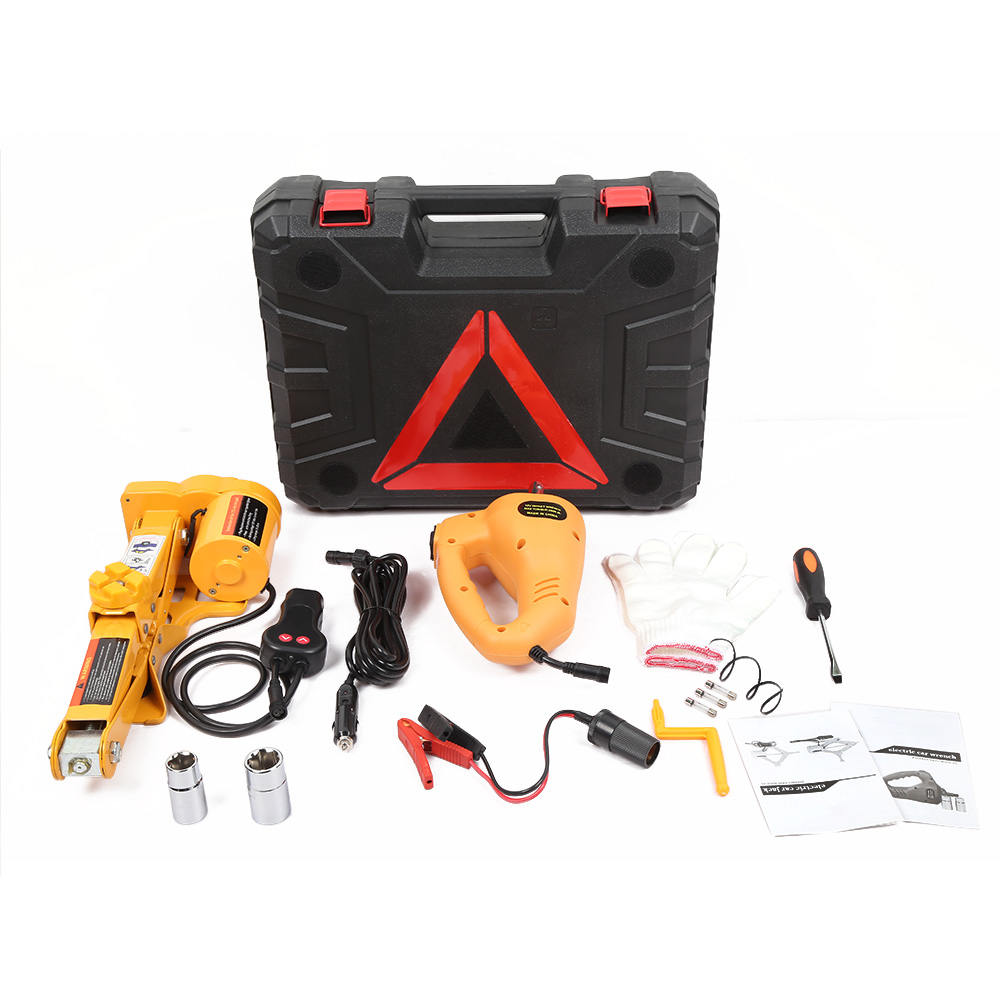 12V Car Electric Hydraulic Floor Jack Lifting Set Impact Wrench Tool Professional Tools Box Roadside Tire Replacement