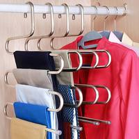 2 Pcs Pants Hangers S Type Stainless Steel Rack 5 Layers Closet Hanger Storage Rack For