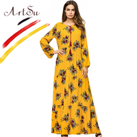 ArtSu Yellow 2018 Spring Floor Length Floral Print Maxi Dress Women Oversized Loose Long Sleeve Elegant Jurken Tassel Swing Robe