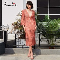 Kinikiss Women Pink Lace Dress Sexy Deep V Neck Holiday Beach Dress 2018 Spring Summer Lady Fashion Hollow Out Split Long Dress