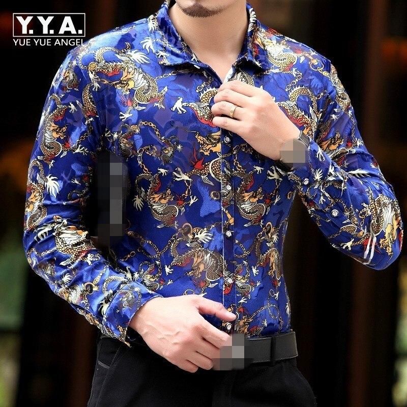 New Spring Mens velvet Shirts Men Top Brand Luxury Heren Kleding Chemise Homme Leopard Print Marque Abbigliamento Uomo Size