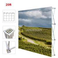 20ft Poster Retractable Backdrop Display Stand Tradeshow Wall Media Wedding Party Tension Fabric Banner Exhibition Booth