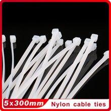 250 PCS 5x300mm Leite Branco Fio de Cabo Zip Ties Self Locking Nylon Cable Tie