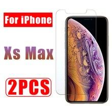 2 PCS protezione dello schermo di vetro per iphone xs max di protezione glas i phone xsmax temperato un iphone airphone aphone cam temperli 9 h