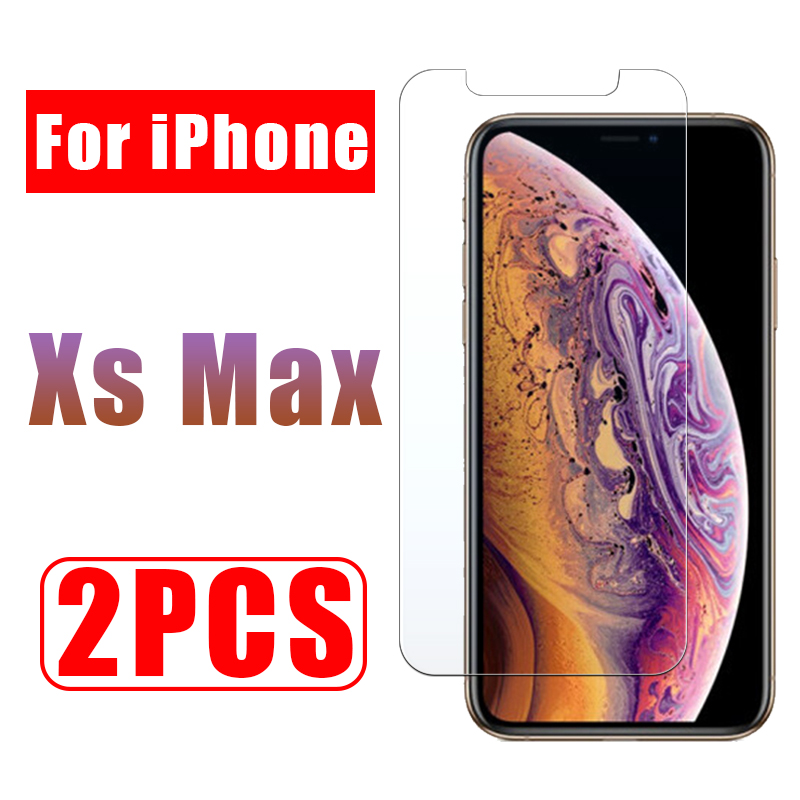 2PCS screen protector glass on for iphone xs max protective glas i phone xsmax tempered aiphone airphone aphone cam temperli 9h-in Phone Screen Protectors from Cellphones & Telecommunications