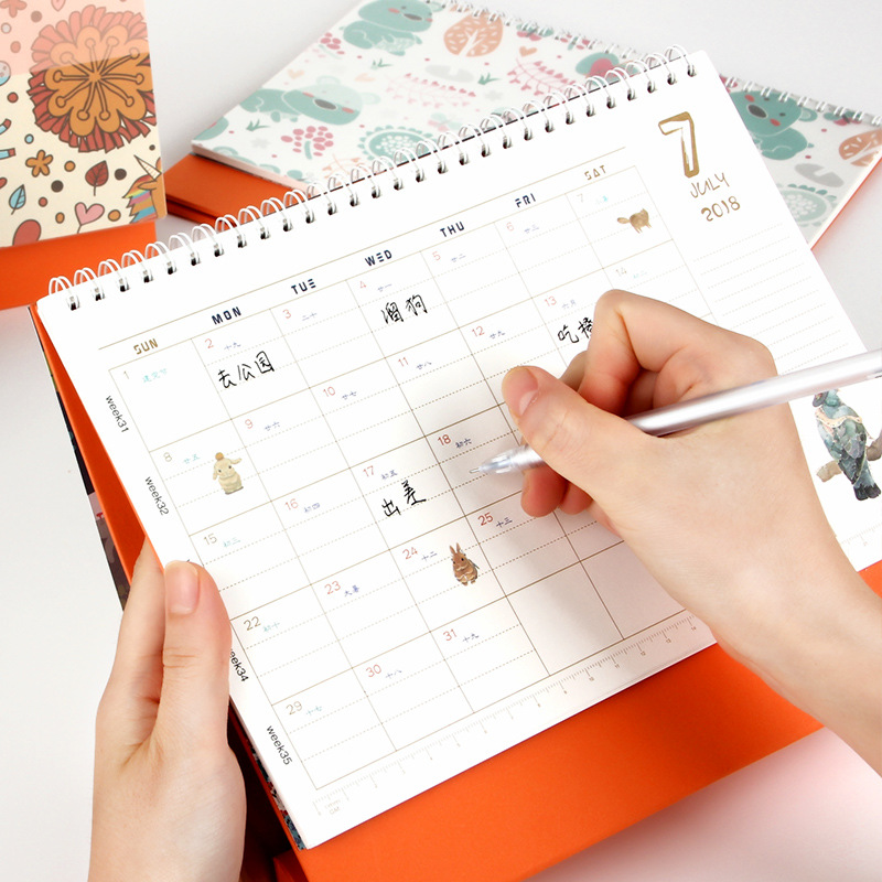 New 2019 Cartoon Animals Calendar Table Calendars Various Animal