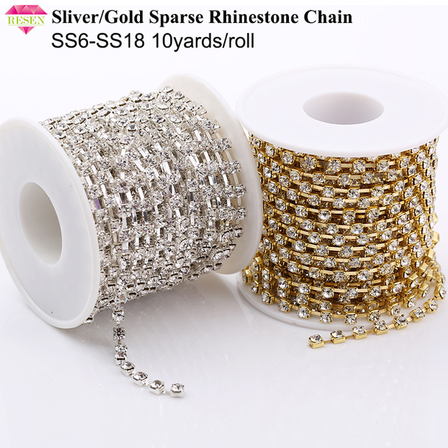 RESEN 10yards roll SS6-SS18(2mm-4.5mm)Silver Gold Base Clear Crystal Rhinestone  Chain Apparel Sewing Glass Rhinestone Cup Chain b6798b88bf2f