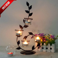 Romantic Candlelight Dinner Wrought Iron Candlestick Roses Candle Holders