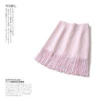 Girls Sweet Light Pink Tweed Skirts 2019 Spring Autumn Women Tassel High Waist Mini Skirts Korean Skirt Y177