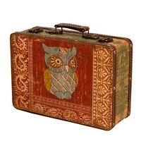 Stylish European Personality Small Portable Wooden Suitcase Antique Window Decoration Mini Retro Storage Box Ornaments Gifts