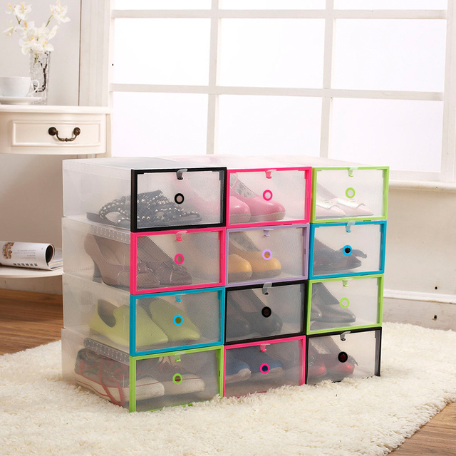 1Pc New Transparent Drawer Case Plastic Shoe Boxes Storage Organizer Home  Use Shoe Storage Box #