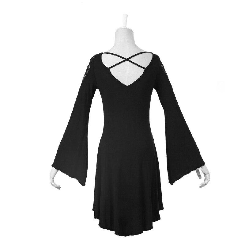 Casual Maille Femmes Party Mode Manches Asymétrique Robes Rock Été Noir Hem Sans Robe Club Gothique Printemps Pour YStw6Zq