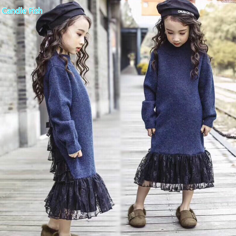 girl sweater long-sleeved dress 2017 winter new models in the long section of lace stitching fishtail dress princess dress sky blue cloud removable hat in the long section of cotton clothing 2017 winter new woman