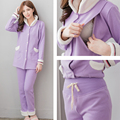 Maternity pajama set Nursing sleepwear Winter Maternity clothes Breastfeeding clothes for pregnant women  Purple color