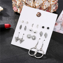 Bohemian Leaf Triangle Stud Earrings Set For Women Vintage 9Pairs/Sets Crystal Round Earring Sets Statement Jewelry 2019 New