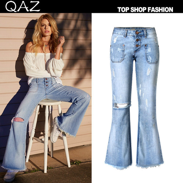 2017 plus size elastic bell bottom jeans female trousers for fat