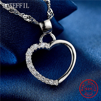 Fashion Simple Heart Necklace 925 Sterling Silver Women Charm Heart Pendant Necklace Jewelry