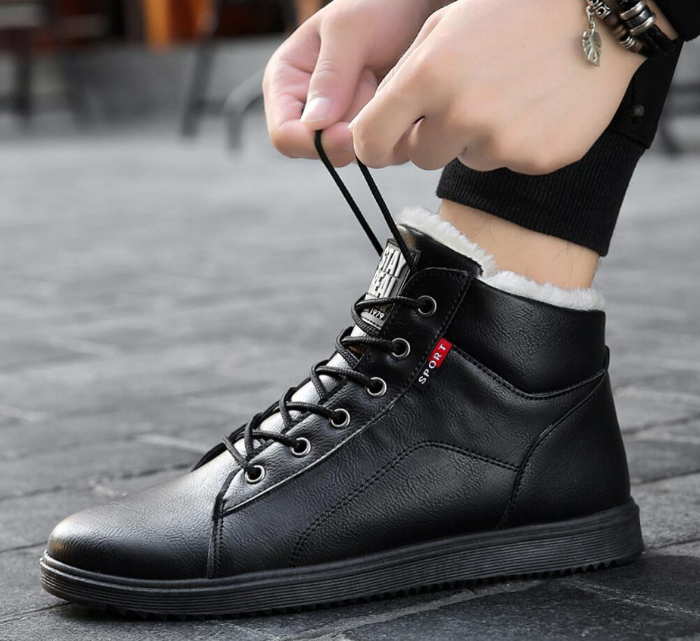 6596a358317 US $17.47 35% OFF|2019 fashion winter boots men shoes warm fur snow boots  pu leather winter work shoes men ankle winter footwear for men boots-in  Snow ...