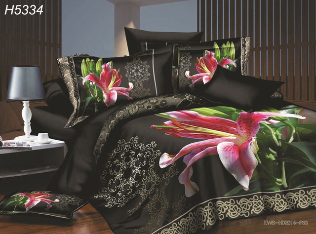 Romantic Floral 3d Bedding Sets Deep Colour Bed Set Hd Digital