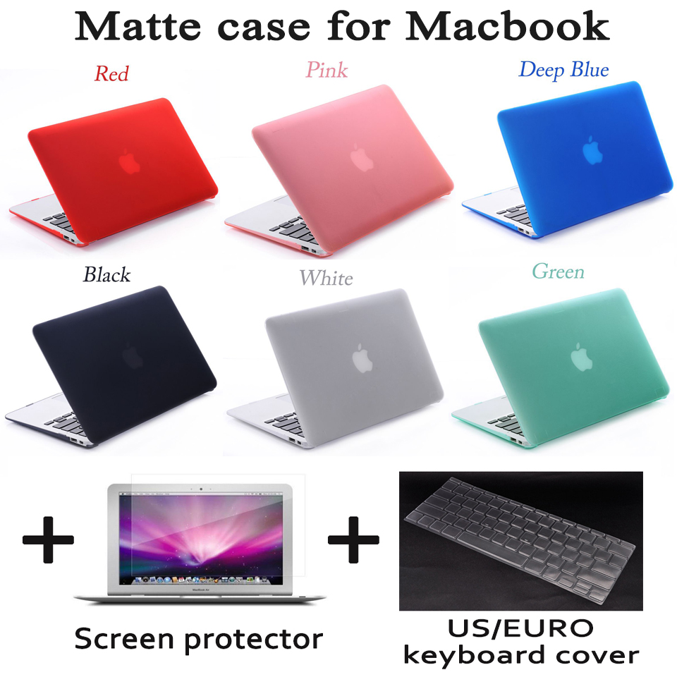 Matte Case with Screen Protector For Apple Macbook Air Pro Retina 11 12 13 15 Laptop Cover Bag For Mac book 13.3 inch with Gift enkay pet ultra screen protector for 15 inch laptop page 5