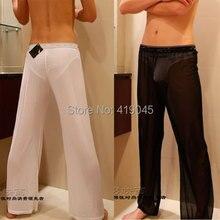 Men's Sexy Mesh Sheer Lounge Pants Sexy Long Pants Black Whi