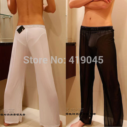 Men's Sexy Mesh Sheer Lounge Pants  Sexy Long  Pants  Black White M L XL Free Shipping