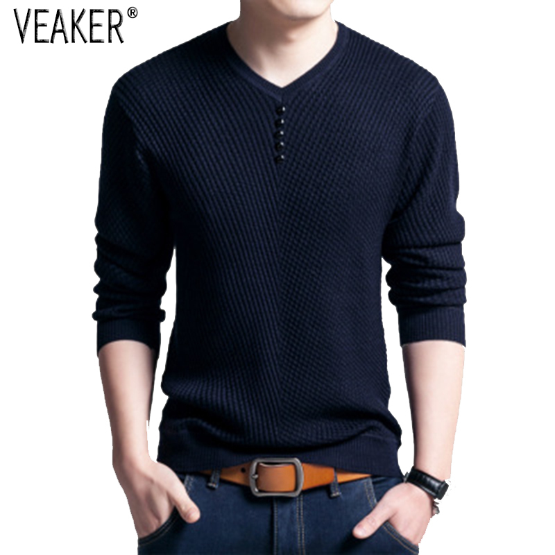 Sweaters Pullover Slim-Fit Long-Sleeve V-Neck-Knitted Male Autumn Men's Red New Black