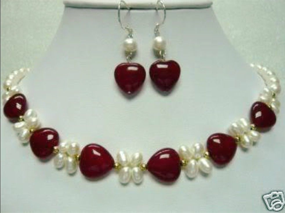 Nobby white cultured pearl & red Natural stone NEW necklace earring^^^@^NEW style Fine jewe Noble FREE SHIPPING