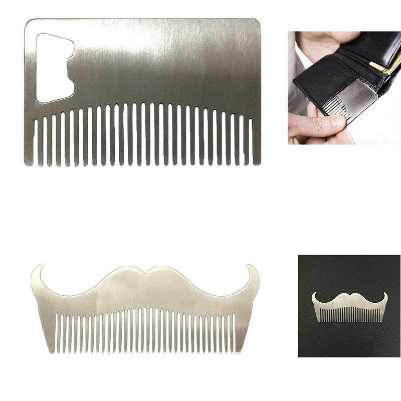 Folding Stainless Steel Beard Comb Mustache + Bottle Opener