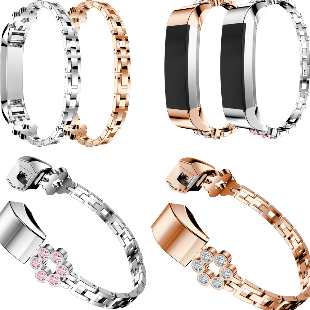 Classic Flowers & Diamonds Stainless Steel Strap Band Replacement Bling Band for Fitbit Alta Wristband Accessory Large Small