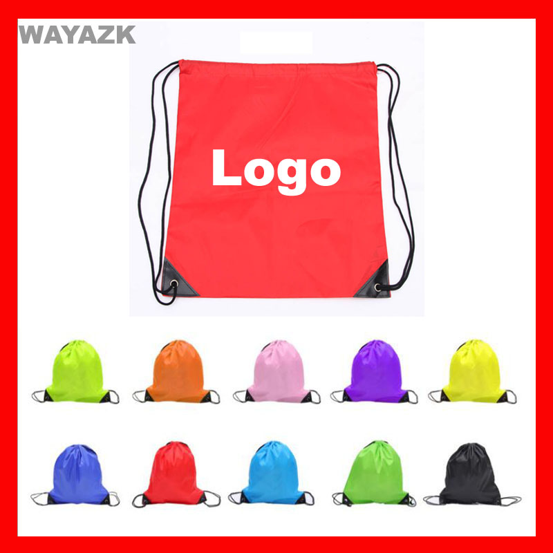 (300pcs/lot) custom drawstring backpack bag with company logo printed as promotional gift