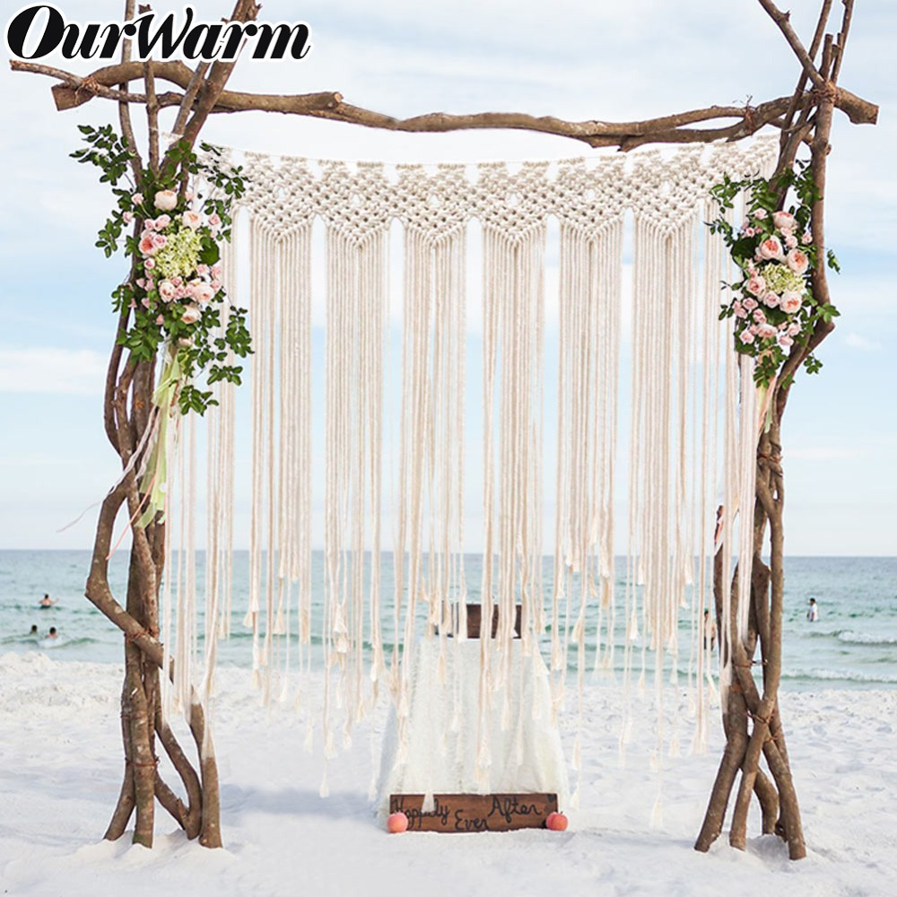 OurWarm Macrame Wedding Backdrop Boho Theme Wedding Decoration Bohemian Photo Backdrop Fringe Garland Banner Home Decoration