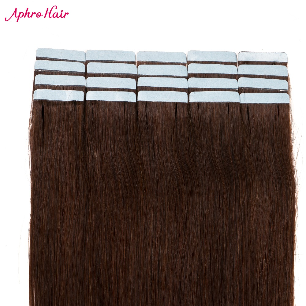 Aphro Hair Skin Weft Tape Hair Extensions 20 Pieces 50G Non Remy Brazilian Straight Hair 100