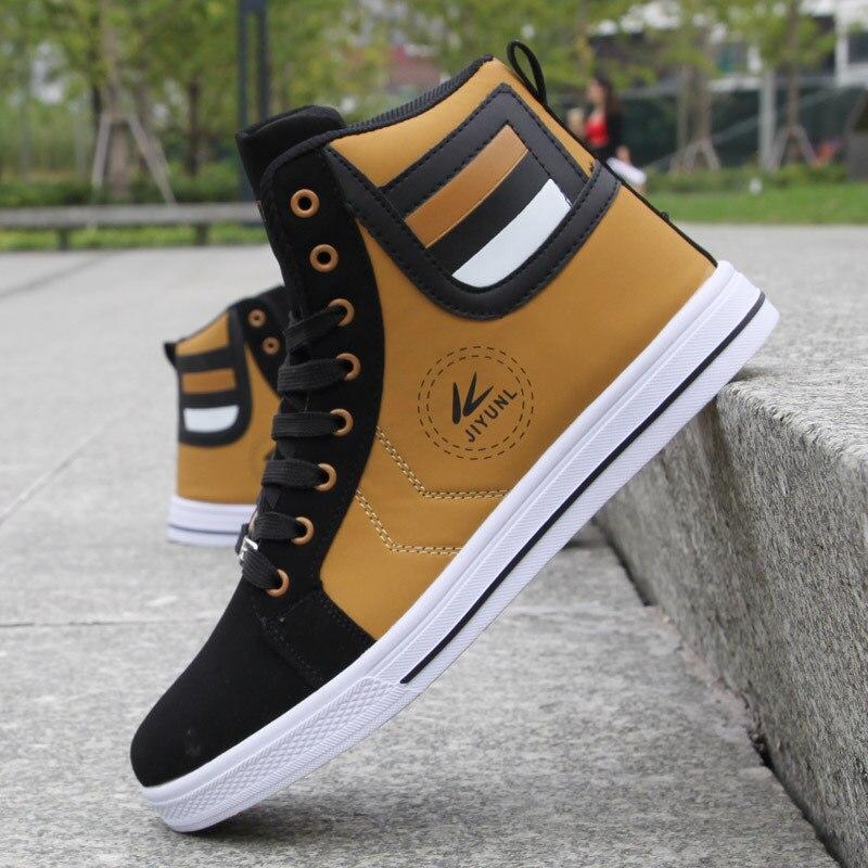 Image 3 - Fashion Men Leather Boots Winter Warm Cotton Ankle Boots Hip Hop Casual Men Shoes Autumn High Top Shoes Man Sneakers Big Size 45Basic Boots   -
