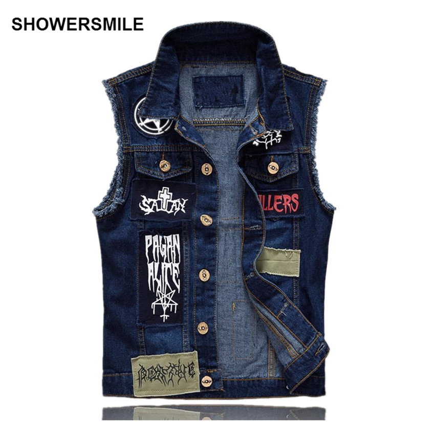 Aliexpress.com : Buy SHOWERSMILE Brand Men's Denim Vest Patch ...