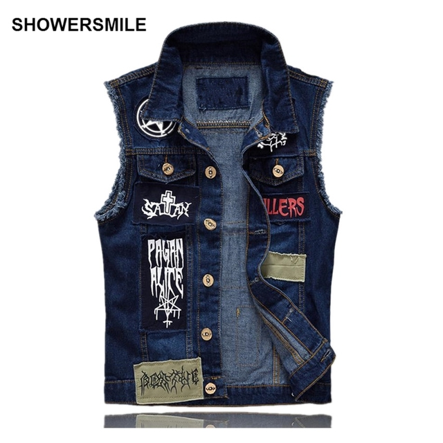 Aliexpress.com : Buy SHOWERSMILE Brand Men's Denim Vest Patch ...