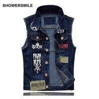Men S Denim Vest Patch Designs Sleeveless Jean Jacket Men Punk Rock Singer Costume Men Motorcycle