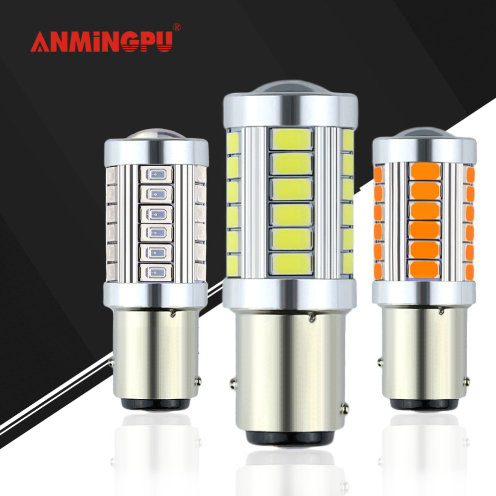 ANMINGPU 1x Signal Lamp P21/5W 1157 Led Bulb 33 LED 5730 SMD Bay15d Led Canbus 12V Brake Backup Tail Lamp Car Light Bulb 12V Red 3156 3w 1 smd led red light car steering backup light 12v