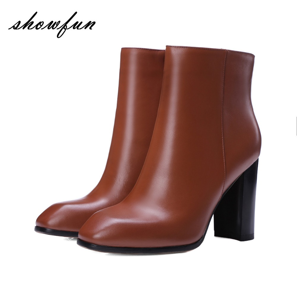 Women's Genuine Leather Thick High Heel Spring Autumn Side Zip Ankle Boots Band Designer Square Toe Elegant Short Booties Shoes феликс икономакис управляй своей жизнью с помощью нлп