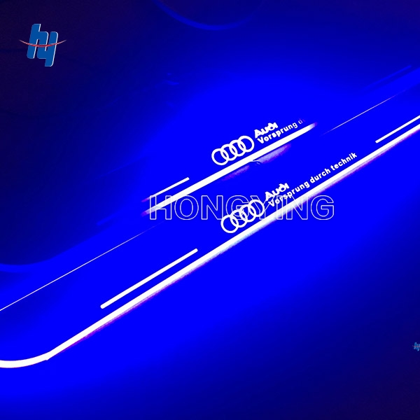 2PCS Car LED Moving Light Front Door Sill Guards Stainless Steel Scuff Plate Welcome Pedal For Audi A3 S3 2014 2015 DC 12V for buick lacrosse excelle gt excelle xt verano light led moving front door scuff sticker sill plate pedal protector styling