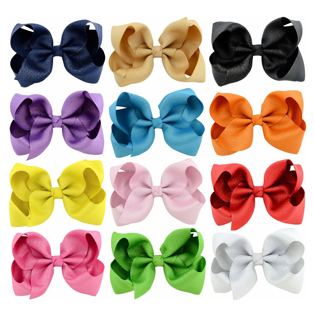 4.3 Inch 12pcs/lot Beauty Bling Grosgrain Ribbon Hair Clips Boutique Shinny Bows For Girls   Headwear   Boutique Hair Accessories781