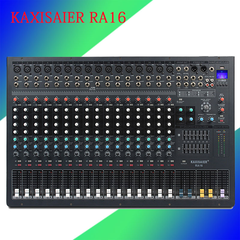 Professional 16 Channel Bluetooth Mixer USB Digital effects 99 DSP Microphone Sound Mixer Console For Stage Music Concert School xbox music mixer