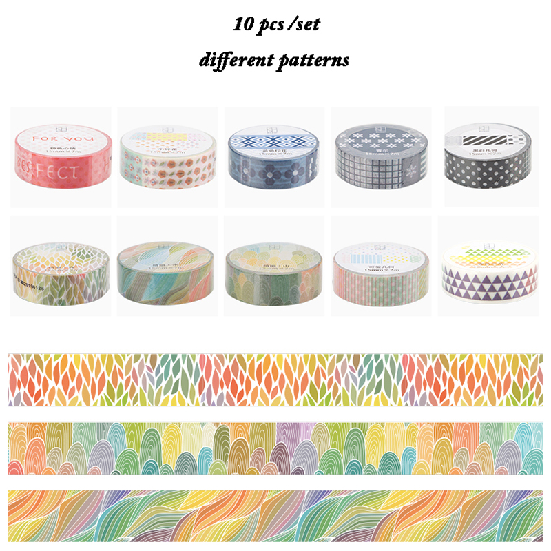 10 Rolls Flower Patterns Classic Design Japanese Washi Tape Adhesive Paper Tape Decorative Masking Tape 586 patterns hot 30pcs lot tape flowers chevrons print deco diy adhesive masking tape japanese washi tape paper 10m wholesale