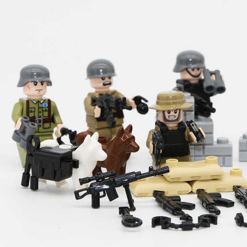 8 шт. армейский солдат набор оружия строительные блоки пистолет WW2 немецкий советский солдат фигурка кирпичная игрушка Совместимость с legoingly поле боя