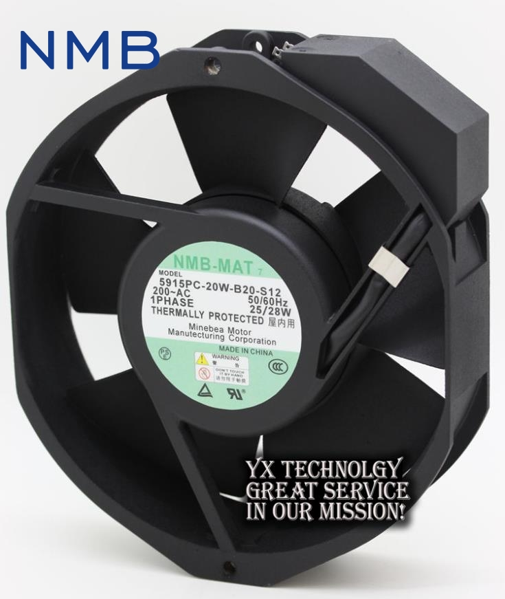 New 5915PC-20W-B20-S12 17238 200V Full Metal Jacket fan blade temperature for NMB 172*172*38mm high temperature resistance 200v nmb 5915pc 20w b20 metal frame cooling fan