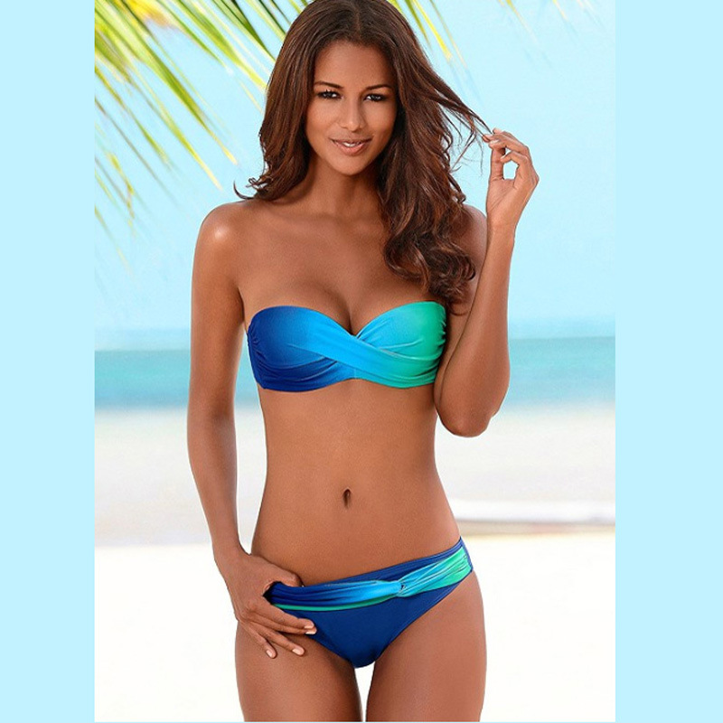 7b4a28a696 Women Sexy Print Swimwear 2019 New Female Two Piece Swimsuit Female  Separate Push Up Bikini Set