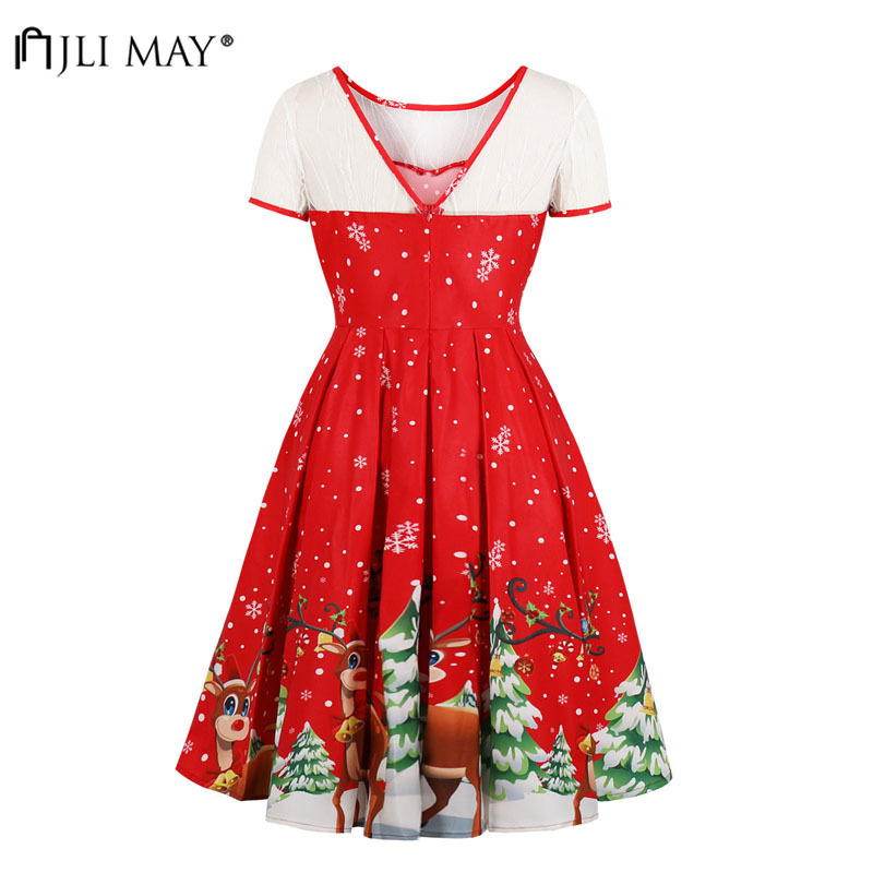 JLI MAY Elk Printed Christmas Party Dress Women Winter Clothes Lace Elegant  Short Sleeve Midi O Neck Asymmetrical Plus size-in Dresses from Women s  Clothing ... a204b14b6065