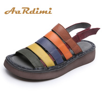 AARDIMI 100 Cow Leather Women Sandals Summer Flats Sandals Ladies Retro Candy Colors Summer Beach Shoes