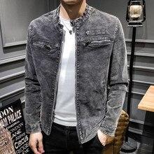 Autumn and winter new men's jacket casual slim jacket solid color retro denim jacket Stand collar coat M-3XL
